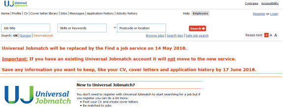 Find A Job Replaces Universal Jobmatch Newsreel