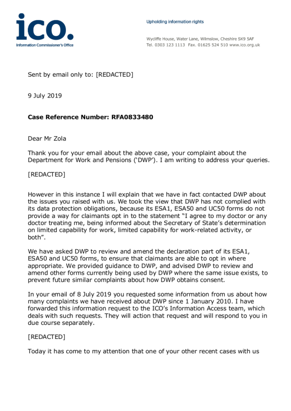 ICO letter to Mr Zola - REDACTED VERSION - 09_07_2019_page1